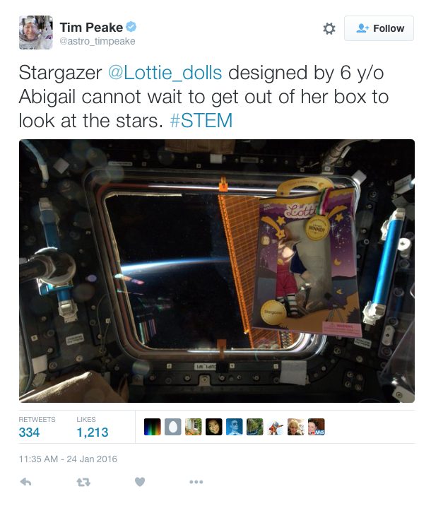 Tim Peake Lottie doll