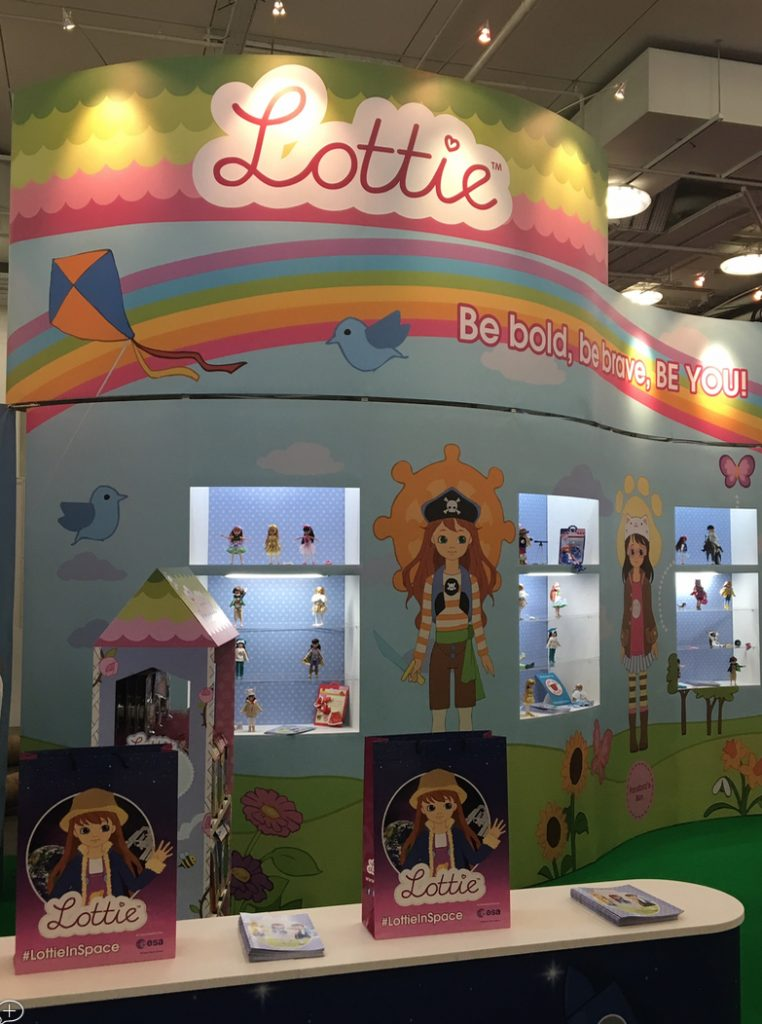 Lottie doll stand at toy fair